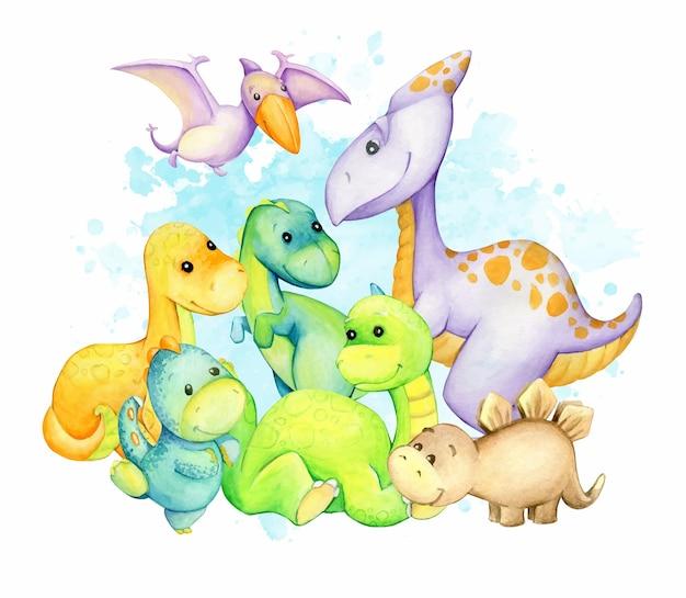 Dinozaury, różne kolory. koncepcja akwareli, styl kreskówki, fikcyjne, prehistoryczne zwierzęta
