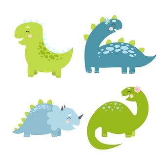 Dinozaury ustawione na białym tle