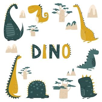 Dinozaury w płaskim stylu kreskówki dla dzieci drukuj