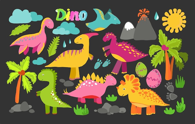 Dinozaury wektor zestaw w stylu skandynawskim kreskówka. kolorowa śliczna ilustracja dla dzieci jest idealna do pokoju dziecięcego.