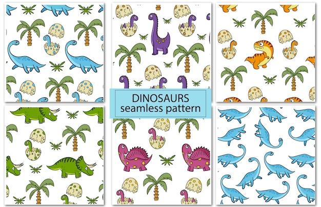 Dinozaury. zestaw kolorowych bezszwowych wzorów do dekoracji pokoju dziecięcego, tkaniny lub tekstyliów. styl kreskówki wektor.
