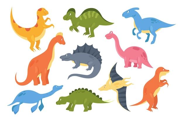 Dinozaury zestaw kolorowych prehistorycznych potworów zwierzęcych kolekcja baby dino paleontology