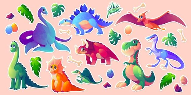 Dinozaury Zestaw Naklejek Z Postaciami Z Kreskówek Z Dinozaurami Darmowych Wektorów