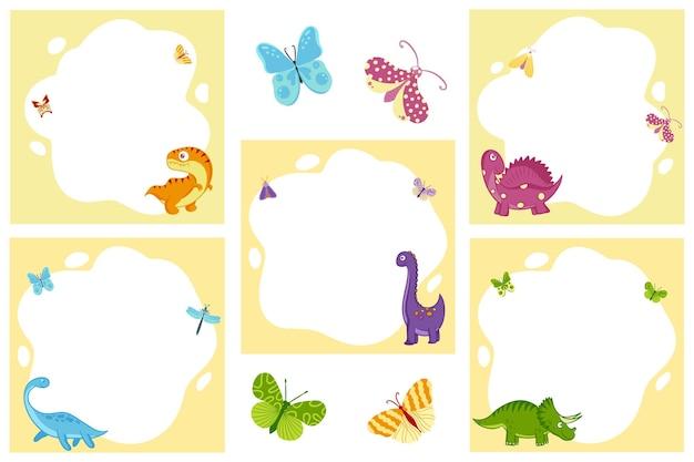Dinozaury. zestaw ramek wektorowych w postaci miejsca w stylu płaskiej kreskówki. szablon do zdjęć dzieci, pocztówek, zaproszeń.