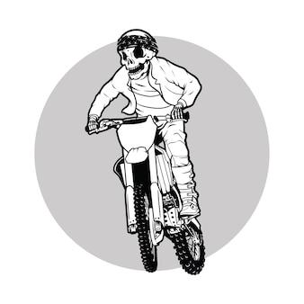 Dirt bike, czaszka motocross rider