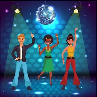 Disco kobiet śpiewających i tańczących na scenie