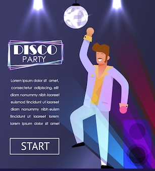 Disco party entertainment w nocnym banerze reklamowym