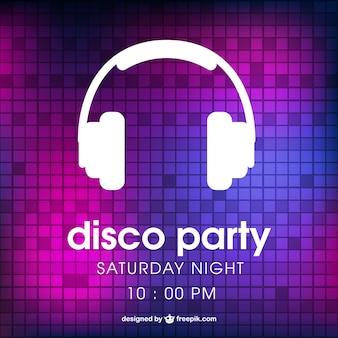 Disco party plakat ze słuchawkami