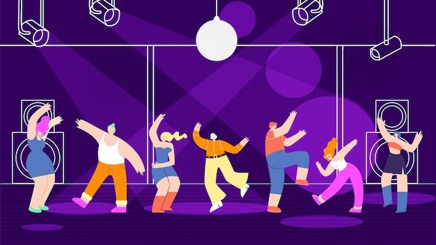 Disco people background nightclub design