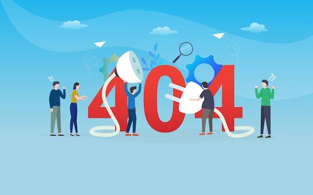 Disconection, error 404, szablon strony internetowej, warstwowe, łatwe do edycji i dostosowywania, koncepcja ilustracji