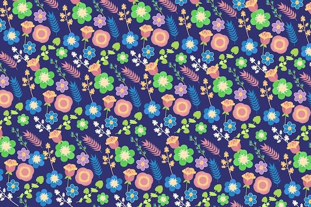 Ditsy tle kwiatów w odcieniach niebieskiego i zielonego