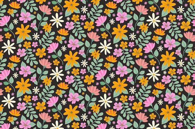 Ditsy tle kwiatów z kolorowymi kwiatami