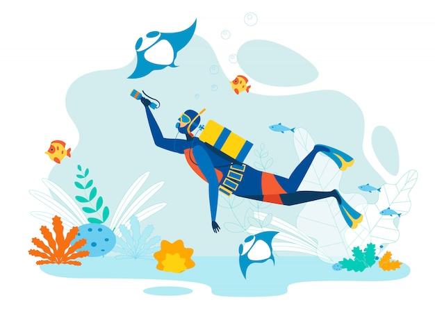 Diver exploring marine life flat