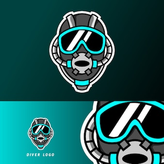 Diver scuba helmet maskotka sport gaming logo szablon e-sportu