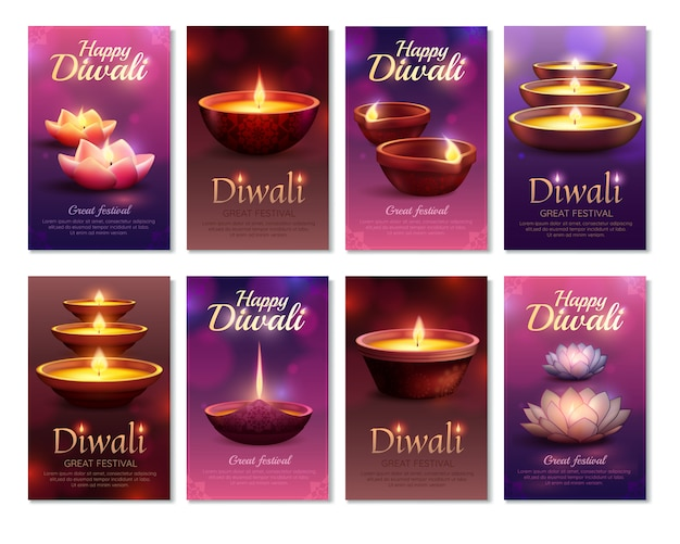 Diwali celebration vertical cards