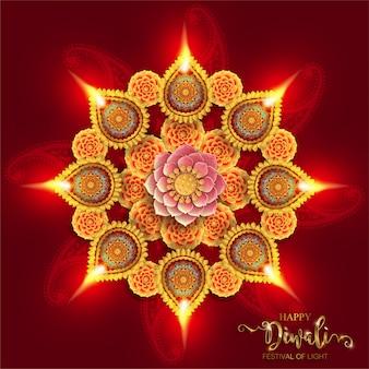 Diwali, deepavali lub dipavali święto świateł w indiach ze złotym wzorem diya i kryształami na papierze