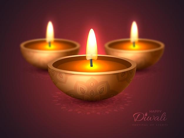 Diwali diya - lampa naftowa. projekt świąteczny na tradycyjny indyjski festiwal świateł. realistyczny styl 3d z efektem rozmycia na fioletowym tle rangoli. ilustracja wektorowa.