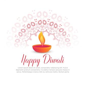 Diwali festiwal płonący diya i mandala sztuka