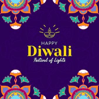 Diwali festiwal świateł szablon społecznościowy wektor