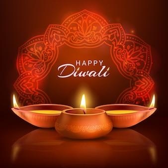 Diwali indyjski festiwal świateł plakat. płonące lampy naftowe i tradycyjna hinduska mandala na czerwonym tle. wakacje deepavali, projekt karty z pozdrowieniami happy diwali z realistycznymi 3d zapalonymi świecami