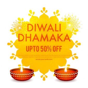 Diwali (indyjski festiwal świateł) projekt banerów reklamowych z podświetlanymi reflektorami naftowymi i ofertami rabatowymi w wysokości 50%.