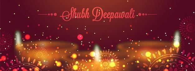 Diwali (indyjski festiwal światła projektu baner sieci web z oå> wietlone oliwy na å> wietle lampy na tle i bå,yszczę ... ce mandali projekt na tle bordowy.