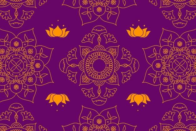 Diwali indyjskiej mandali fioletowe tło
