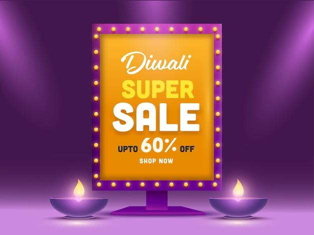 Diwali super sale billboard stand z ofertą rabatową i zapalonymi lampami naftowymi na fioletowym tle.