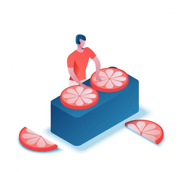 Dj gra muzykę z śmieszne pomarańczowy izometryczny 3d ilustracja