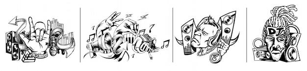 Dj instrumenty muzyczne tło zestaw