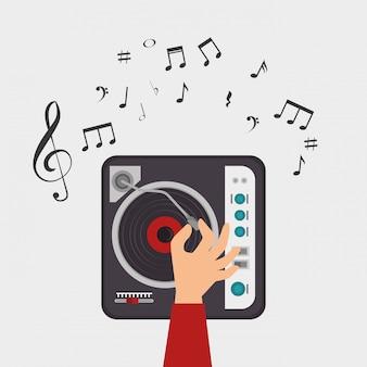 Dj konsola uwaga klucz wiolinowy muzyka