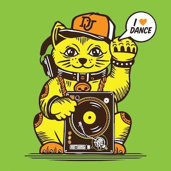 Dj lucky cat disc jockey