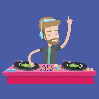 Dj miesza muzykę na turntables ilustracyjnych.