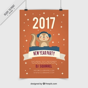Dj wiewiórki nowy rok party plakat