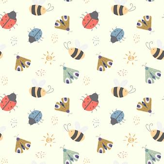 Dla dzieci wzór z różnych cute owadów