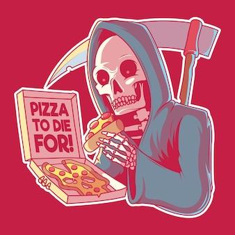 Dla ilustracji pizza na śmierć. fast food, marka, logo, koncepcja projektu.