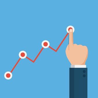 Dłoń dotykając strzałkę wykresu, wykres wzrostu finansowego