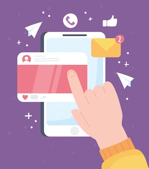 Dłoń dotykająca ekranu mobilny system komunikacji społecznej i technologie