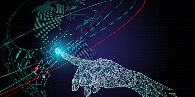 Dłoń o niskim wielokącie dotykająca sieci telekomunikacyjnej i bezprzewodowej mobilnej technologii internetowej.
