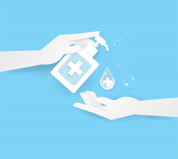 Dłoń trzymającą alkohol lub zupę w butelce na górze dwóch ludzkich rąk, umyj rękę.