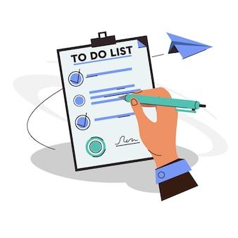 Dłoń trzymająca długopis i wypełnij znacznik wyboru na liście do zrobienia kartki papieru ze schowkiem