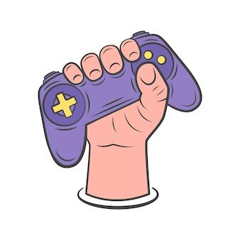 Dłoń trzymająca gamepad. ilustracja gamepada do sieci, aplikacji mobilnych, projektowania. ręcznie rysowane styl. ilustracja.