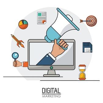 Dłoń trzymająca głośnik cyfrowy marketing informacji biznesowych online