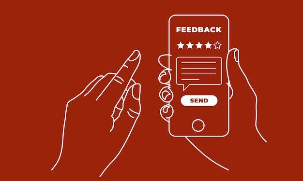Dłoń trzymająca i wskazująca na telefon komórkowy z pięcioma gwiazdkami na ekranie i wysyłanie wiadomości. koncepcja opinii, oceny i recenzji. ilustracja wektorowa eps10 linii