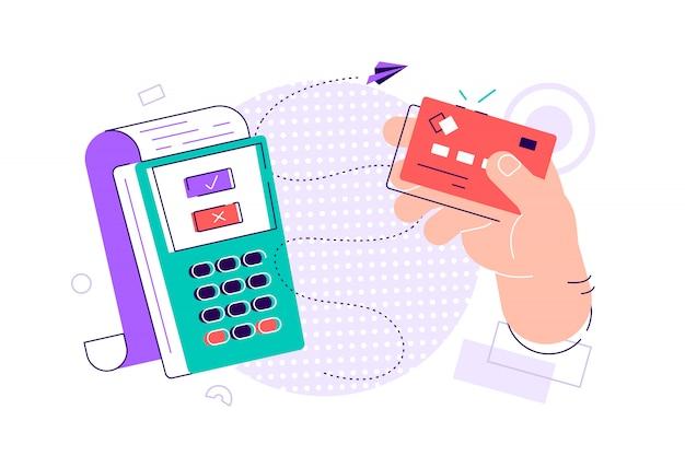 Dłoń trzymająca kartę debetową lub kredytową, machająca nią nad terminalem elektronicznym lub czytnikiem oraz płacąca lub kupująca. system płatności lub technologia płatności zbliżeniowych. kolorowa nowożytna wektorowa ilustracja w mieszkanie stylu.
