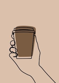 Dłoń trzymająca kawę w jednej linii ciągłej sztuki premium vector