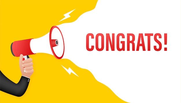 Dłoń trzymająca megafon - gratulacje.