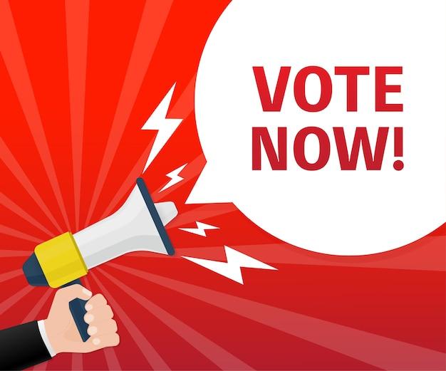 Dłoń trzymająca megafon. ikona głosowania za. koncepcja głosowania. ilustracja.