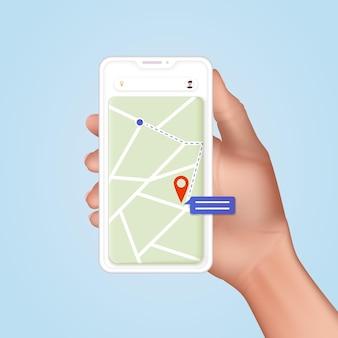 Dłoń trzymająca mobilny smartfon ze śledzeniem dostarczania aplikacji. nowoczesny, kreatywny projekt grafiki 3d w aplikacji.
