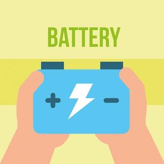 Dłoń trzymająca moc akumulatora